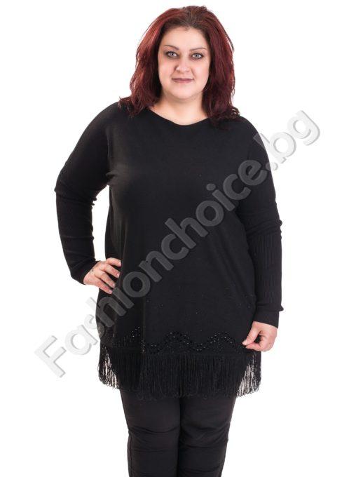Плътна дамска макси блуза с ресни и малки камъчета