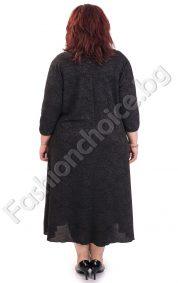 Класическа черна дамска рокля с тюл /макси размери/