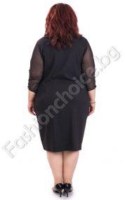 Черна класическа макси рокля с нежен тюл