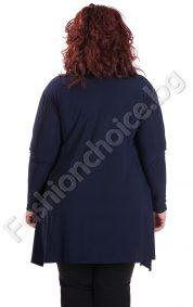 Асиметрична дамска макси туника с кожа и дантела