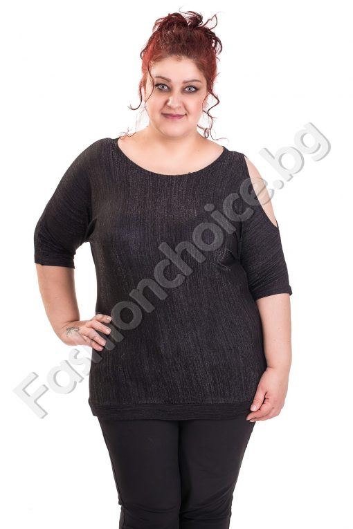 Уникална дамска блуза с кокетни отвори /макси размер/