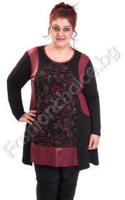 Дамска туника с шарени орнаменти /големи размери/