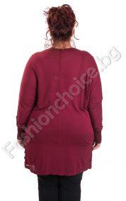 Дамска макси туника в бордо с интересна яка