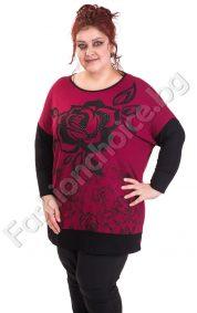 Ефектна макси блуза с рози в актуални цветове