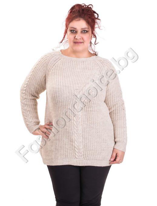 Пухкав плетен пуловер за макси дами