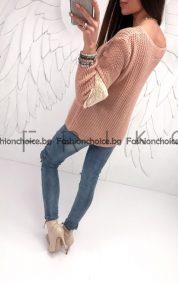 Дамски пуловер с ефектен полар на ръкавите в два цвята
