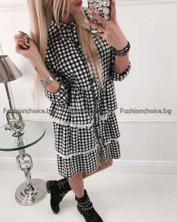 Кокетна карирана дамска риза, дълъг модел