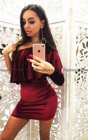 Уникална дамска рокля с голо рамо в два десена