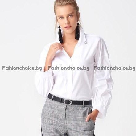 Риза с нестандартен ръкав в черен или бял цвят