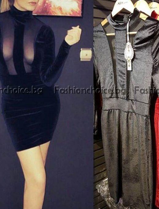 Стилна дамска рокля в тюл в бордо или черно