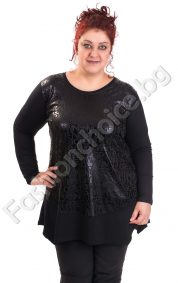 Уникална дамска макси туника в черно с буквички