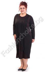 Макси рокля в черно и бордо с прекрасна дантела