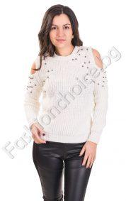 Дамска топъл пуловер с отвори на раменете и пелички