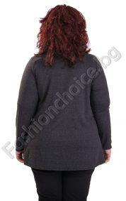 Абстрактна дамска макси туника в сиви нюанси