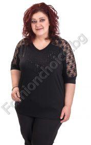 Уникална макси блуза с камъчета и тюл по ръкавите