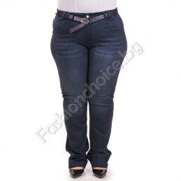 Дамски изчистени макси дънки с кожено коланче