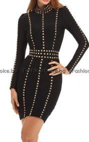 Шикозна дамска рокля с камъчета в черно