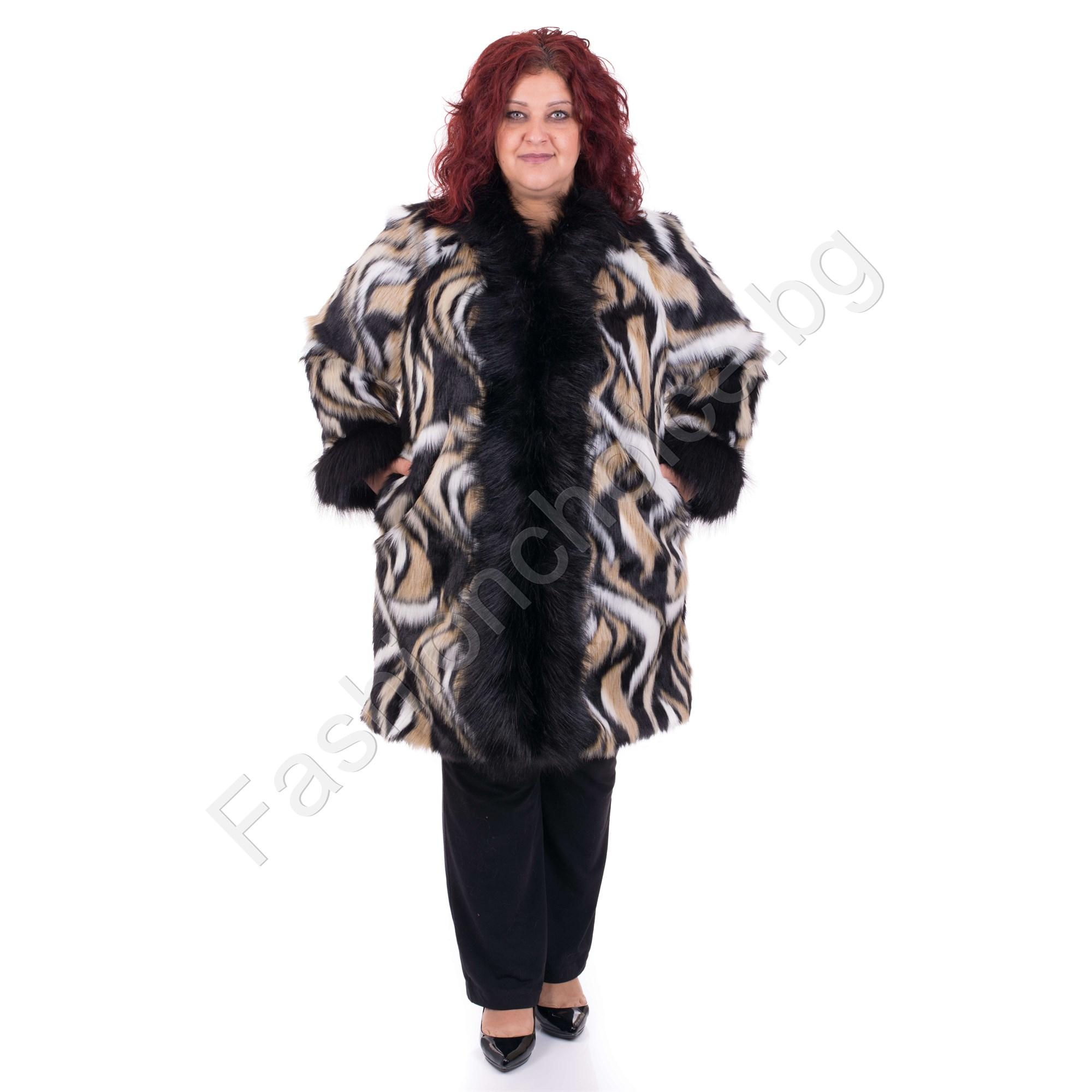 5b10951a1e7 Дизайнерско макси палтенце с разкошен еко косъм в абстрактен принт