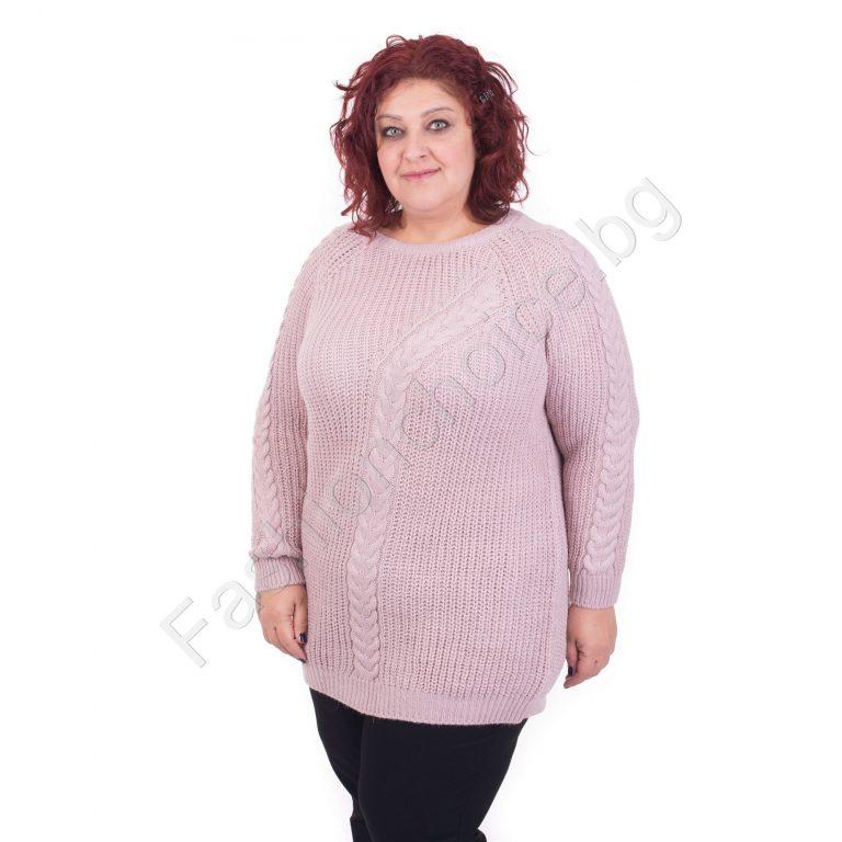 Интелигентен плетен пуловер за макси дами в 4 цвята