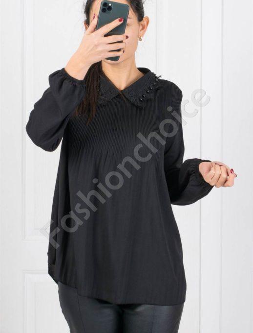 Нежна свободна дамска риза в черно-код 0700
