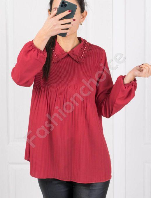 Нежна свободна дамска риза в червено-код 0700-1