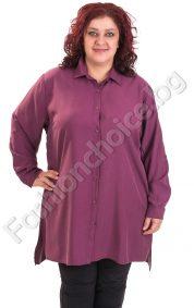 Изчистена дамска макси риза в модерни цветове с издължена част