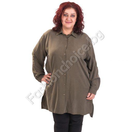Прекрасна макси туника-риза в модерни цветове с издължена част