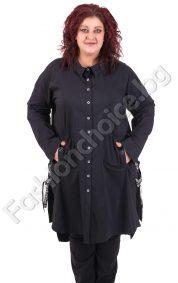 Елегантна дълга макси риза с джобчета в черно