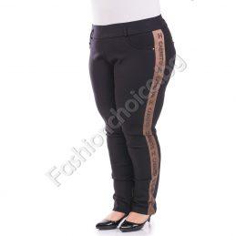 Луксозен макси панталон тип клин с актуален кафяв кант