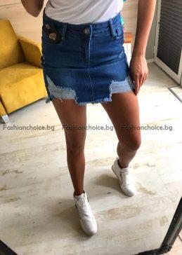 Кокетна дамска дънкова пола с надран ефект