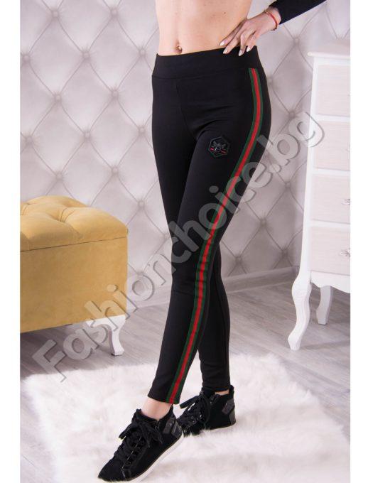 Спортно дамско долнище тип клин с цветен кант