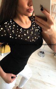 Деликатно секси блуза FF с деколте от тюл и перли