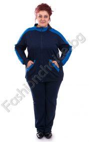 Дамски спортен екип със син кант в големи размери