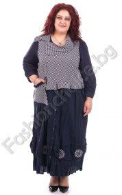 Дълга макси рокля с цяло закопчаване и ефектна горна част