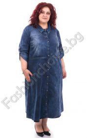 Спортно-елегантна дънкова рокля в тъмен деним /макси размер/