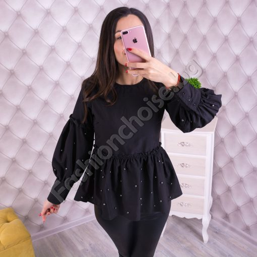 Клубна дамска блуза с перлички в черно