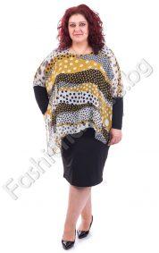 Очарователна макси рокля с цветен шифон на точки