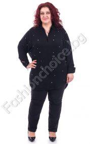 Стилна дамска макси риза с перли в топли цветове