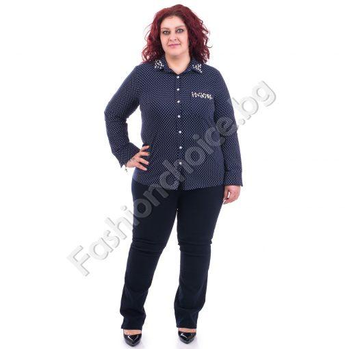 Дамска макси риза на точки с перлички в тъмно синьо