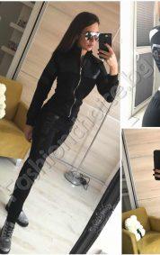 Дамски спортен комплект в черно с цип и елементи от кожа