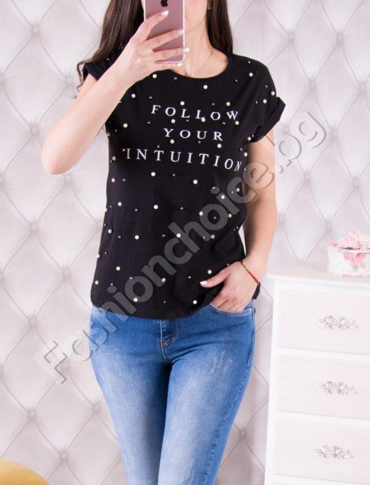 Модерна дамска блуза Follow Your Intuition декорирана с перли