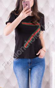 Спортна дамска блуза с модерен кант и красива роза