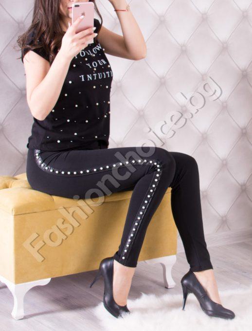 Модерен дамски клин в черно с кант от нежни перли