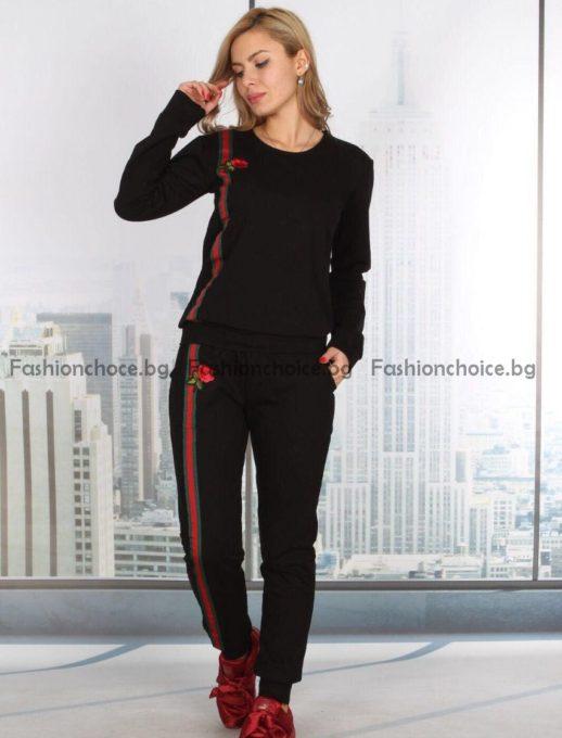 Модерен спортен дамски комплект с мотиви тип GUCCI