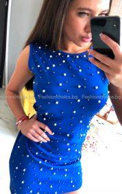 Актуална секси рокличка с перли в четири фантастични цвята