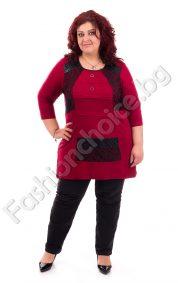 Изискана макси туника с дантелени мотиви в черно и бордо