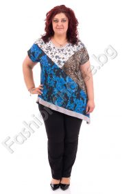 Интересна асиметрична макси блузка с флорални и тигрови мотиви