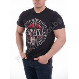 Черна мъжка тениска с китара и надпис NIRVANA
