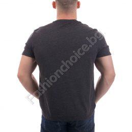 Памучна мъжка тениска в цвят графит с къс ръкав
