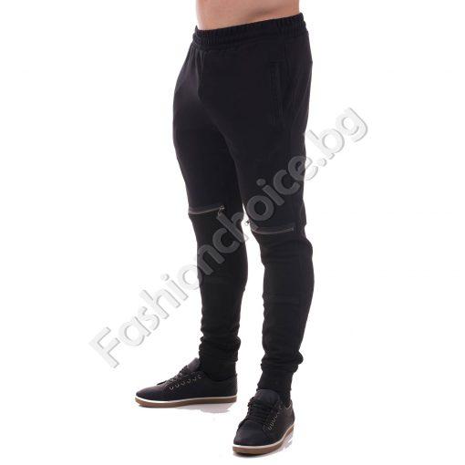 Спортно мъжко долнище с ципчета в черно